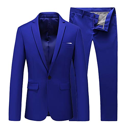 UNINUKOO Mens Slim Fit 2 Piece Single Breasted Jacket Party Prom Tuxedo SuitsUS Size 36 (Label Size 2XL) Colored Blue ()