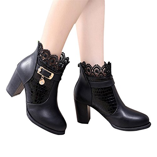 Riding Jeff Zip Heel Boots Boots Winter Ankle Autumn Shoes Women Platform Buckle Black Tribble Thick Boots Sexy OrqUfHOw