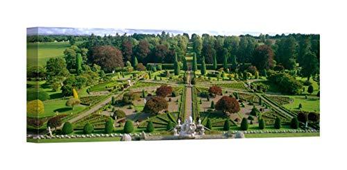 Easy Art Prints Panoramic Images's 'Formal Gardens of a Castle, Drummond Castle, Perthshire, Scotland' Premium Canvas Art 36 x 12