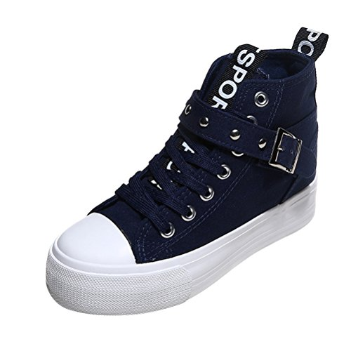 T & Mates Comfortabele Dames Cap-toed Band Gesp Hoge Top Duurzame Canvas Mode Sneakers Blauw