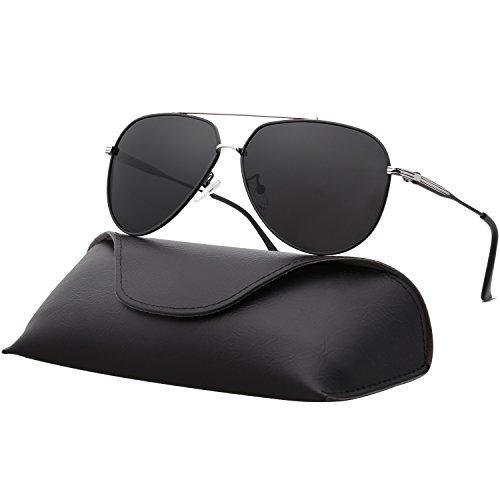 - Ray Parker Sunglasses for Men Aviator Polarized Double Bridge Mens Sunglasses RP0967 With Silver&Black Frame/Grey Lens