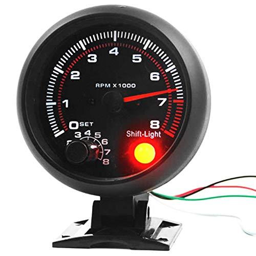 SODIAL Calibro del tachimetro retroilluminato a LED Bianco da 3,75 Pollici 12V con Luce Rossa per Auto a Benzina, 0-8000 RPM 176829