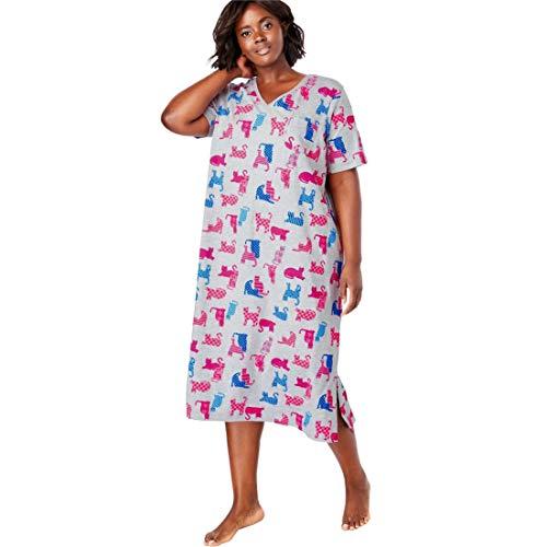 Dreams & Co. Women's Plus Size Long Print Sleepshirt - Multi Cats, 3X/4X
