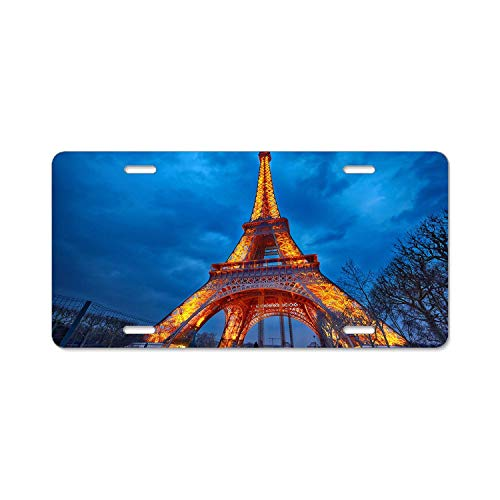 "YEX Abstract Beautiful Night View of The Eiffel Tower License Plate Frame Car Licence Plate Covers Auto Tag Holder 6"" x 12"""