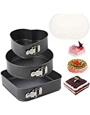 """3pcs Springform Pan Set, Nonstick Cake Pan Set with 8.6"""" Heart-Shaped, 9.6"""" Round, 10"""" Square Cake Pan, Bakeware Cheesecake Pans with 40 PCS Parchment Paper Liners and Detachable Bottom"""