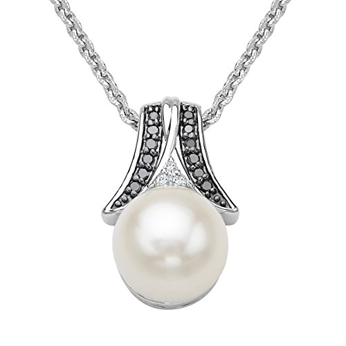 Freshwater Cultured Pearl Pendant Necklace with Black & White Diamonds in Sterling Silver