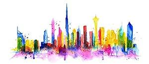 Dubai watercolor Cityscape Art canvas Print, United Arab Emirates Dubai Skyline, City Poster, Skyline Print, Home Decor
