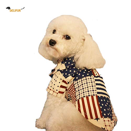 Delifur American Flag Dog Costume Pet Shirt USA Flag Style Summer Apparel for Small Medium Large Dogs