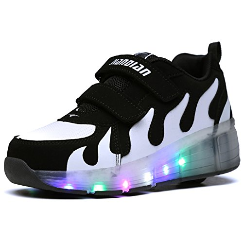 (Nsasy YCOMI Girl's Boy's LED Light Up Single Wheel Double Wheel Shoes Roller Skate Shoes (34 M EU / 3 M US Little Kid))