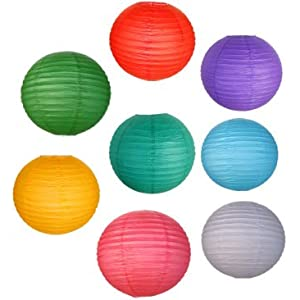 """Just Artifacts 8 Assorted (DIFFERENT) Color Chinese/Japanese Paper Lanterns / Lamp 8"""" Diameter - Decorative Paper Lanterns for Birthday Parties, Weddings, Baby Showers, and Life Celebrations!"""