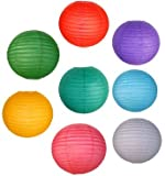 "Just Artifacts 8 Assorted 8"" Chinese Paper Lanterns (Assorted Colors, 8-Inch) - Item as Pictured"