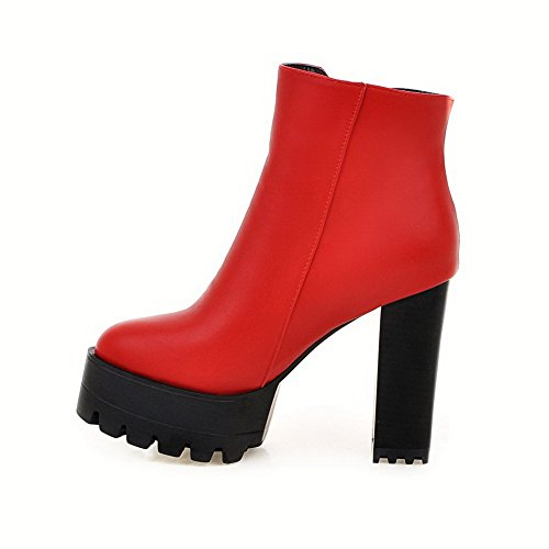 top AgooLar PU Chains Women's Low High Boots Heels Red Solid f0vAf