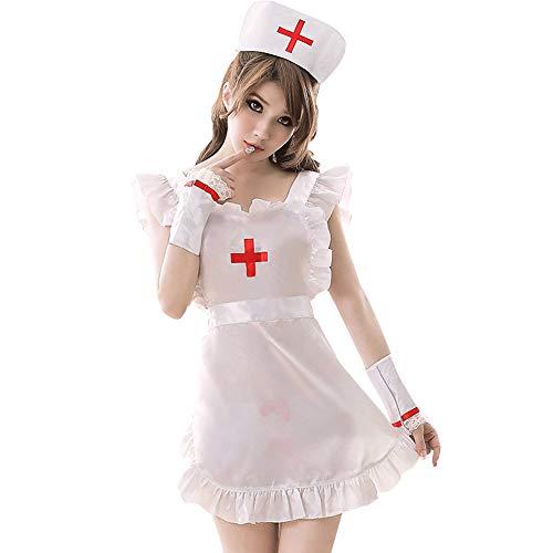YOMORIO Womens Sexy Nurse Uniform Naughty Maid Cosplay Costumes Halloween Party Dress
