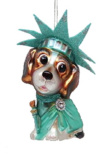 December Diamonds Blown Glass Ornament - Statue of Liberty Beagle ()
