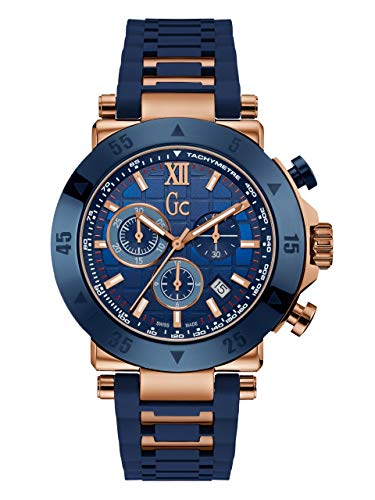 GUESS Men's Gc Rose Gold-Tone and Navy Sport Watch