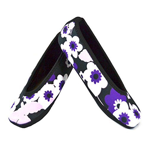 NuFoot Ballet Flats Women's Shoes, Best Foldable & Flexible Flats, Slipper Socks, Travel Slippers & Exercise Shoes, Dance Shoes, Yoga Socks, House Shoes, Indoor Slippers, Purple Flowers, X-Large by Nufoot