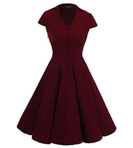 Elegante Orlo Vestito Comodi Grande Rosso Di Vino Vita Donne Accettare Tendenza Partito Delle Semplice 6U6qY