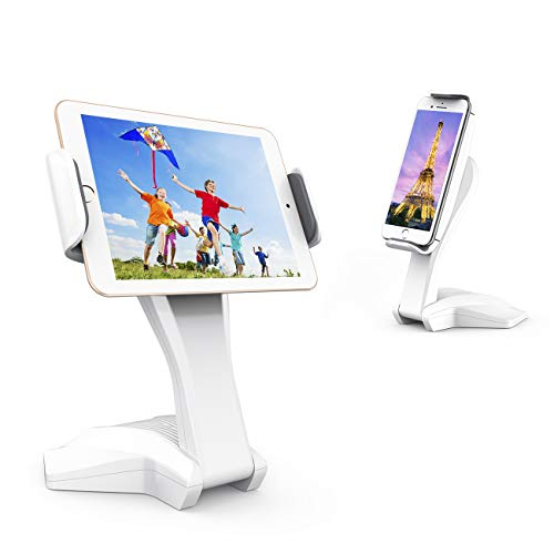Tablet Stand Adjustable, 360°Swivel iPad Stand Fits 7-15 Display Tablet/Phones, iPad Pro, Air Mini, Folding Lightweight Tablet Holder for The Table, Desk, Home, Office (White)