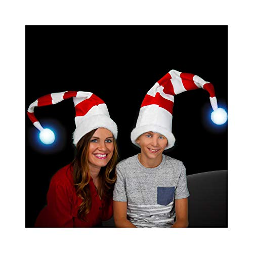 (White Red Striped Light Up Ball Santa Claus Elf Cap Hat, One)