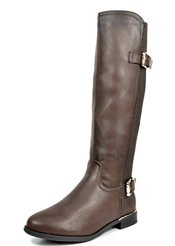 DREAM PAIRS Womens Faux Leather PU Knee High Winter Riding Boots Flexfit-brown b3lK7lrAO