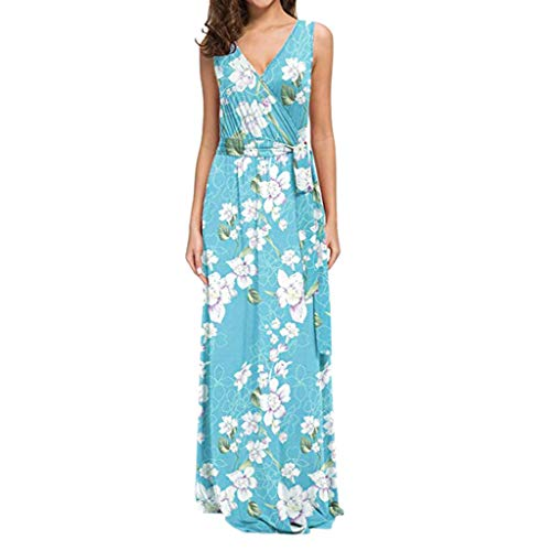 WEISUN Women Sleeveless Dress Floral Printed with Belt Maxi Dresses Summer Casual Long Dress Light Blue (Prada Suede Belt)