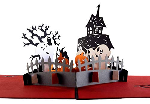 iGifts And Cards Halloween Trick or Treat 3D Pop Up Greeting Card - Pumpkin, Friendly Ghost, Witch, Owl, Haunted House, Bats, Graveyard, Tombstone, Jack-O-Lantern, Scary, Spooky, Half-Fold, Fun, Wow -