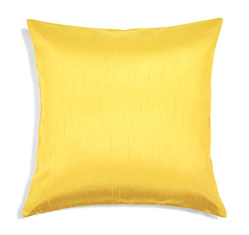 Aiking Home Solid Faux Silk Euro Sham/Pillow Cover, Zipper Closure, 26 by 26 Inches, Yellow