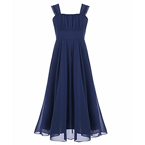 iEFiEL Big Girls Ruched Bodice Chiffon Long Dress Junior Bridesmaid Gown Navy 14