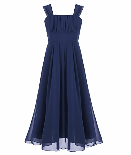 iEFiEL Big Girls Ruched Bodice Chiffon Long Dress Junior Bridesmaid Gown Navy 8