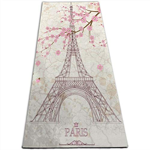 Eiffel Tower 2009 - Yoga Mat Eiffel Tower and Cherry Blossoms Hot 1/4-Inch Thick Sports Mats for Pilates, Fitness & Workout