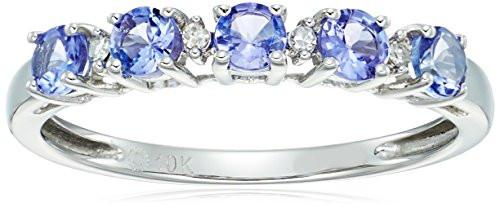 10k White Gold Tanzanite and Diamond Accented Stackable Ring, Size ()