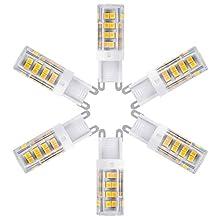 G9 LED Bulbs, 5W 400 lumens Bi-pin Base Non Dimmable Corn Bulb 110V 40W Incandescent Equivalent LED Candelabra Bulb Under Counter Kitchen Lighting, Warm White 3000K LED Chandelier Bulbs, 6-Pack