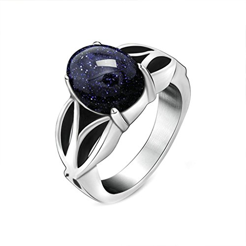 Men Stainless Steel Rings Vintage Punk With Blue Stone Silver Free Engraving Rings for Men Size 8 (Plus Size Templar Knight Costume)