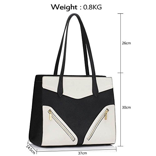 LEESUN LONDON - Bolsa mujer, color marrón, talla L D - Black/White