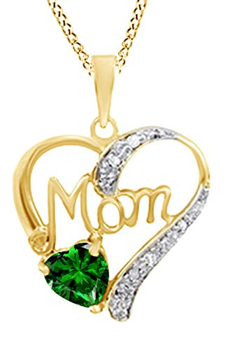 Simulated Emerald & White Diamond Accent MOM Heart Pendant Pendant Necklace in 925 Yellow Gold Over Sterling Silver