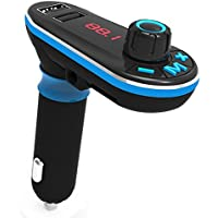 Auledio FM Transmitter, Wireless In-Car Bluetooth Hands Free Car Kit Radio Adapter with 5V/2.1A USB Car Charger Support USB Flash Driver/TF Card for iPhone 7, Samsung S8 and More Devices