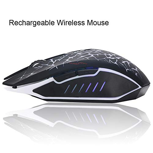 03a719692ad Shybuy W200 Crack Wireless Mute LED Backlight USB Optical Ergonomic Gaming  Mouse (A, Black