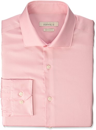 Perry Ellis Men's Very Sim Fit Performance Solid Dress Shirt, Peach, 15.5