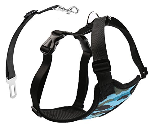 (Stock Show Pet Dog Vehicle Harnesses with Car Safety Belt, Adjustable Camouflage Blue Printed Canvas Mesh Lining Vest Harness with Car Seat Belt Lead Clip,)