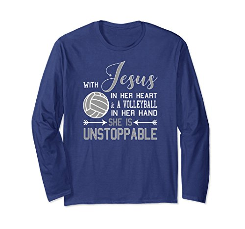Long Volleyball Sleeve T-shirt (Unisex With Jesus In Her Heart & A Volleyball LONG SLEEVE T-shirt XL: Navy)