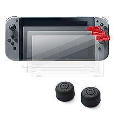 Insten [3-Pack] Nintendo Switch Screen Protector + [2-Pcs] Joy-Con Thumb Grip Stick Caps [Anti-Slip/Protective] For Nintendo Switch Joy Con Controller Thumb Grip [2017 New Release], Black Style 2