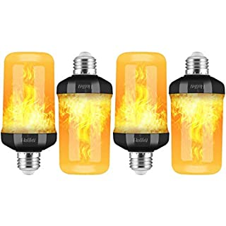 LED Flame Light Bulbs, 4 Modes LED Flame Effect Light Bulbs for Christmas Decorations Outdoor, 2Pcs E26 Base Flicker Fire Flame Bulbs, Led Christmas Lights for Lantern, Porch, Torches,(Black)