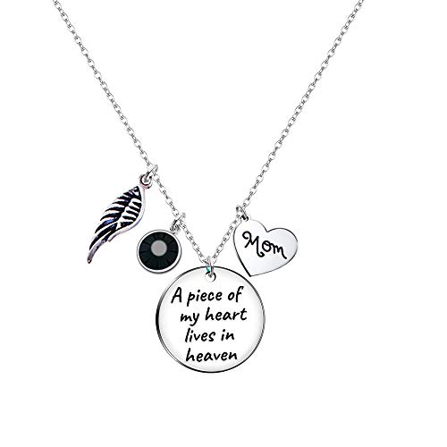 Paris Selection Memorial Necklace Sympathy Gift- A Piece of My Heart Lives in Heaven Necklace in Memory of Mom