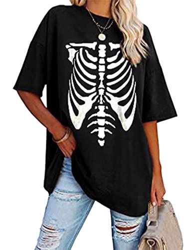 Epuyaito Women Creative Skull Print Pullover Short Sleeve Round Neckline Loose T-Shirt Tops Black
