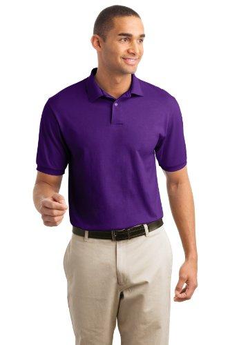 Hanes Men's EcoSmart Comfortsoft Blended Jersey Sport Polo Shirt, Purple, (50 Blended Jersey Polo)