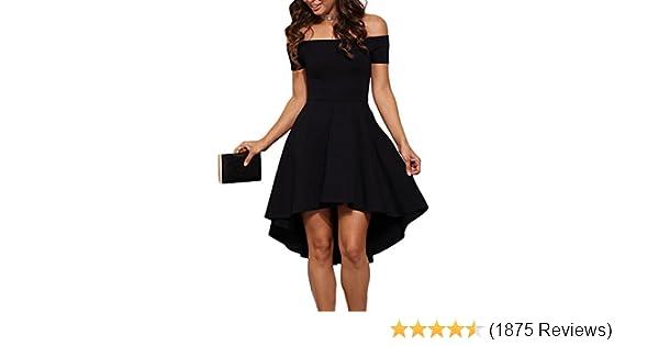 aa811595450 Amazon.com  Sarin Mathews Womens Off The Shoulder Short Sleeve High Low  Cocktail Skater Dress  Clothing
