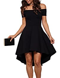 Womens Off The Shoulder Short Sleeve High Low Cocktail Skater Dress