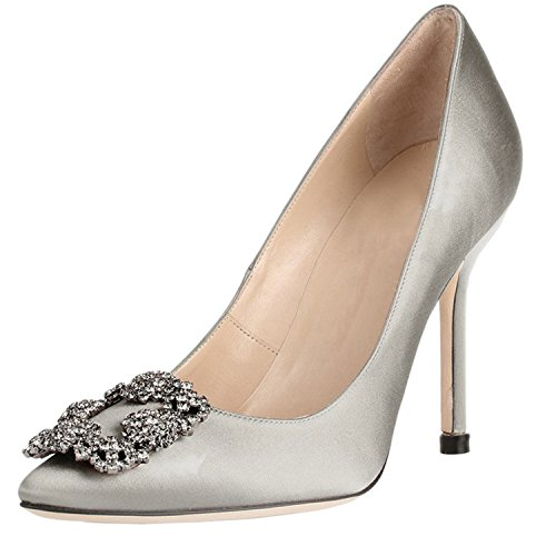 On Heel Pumps Chris Toe Jeweled Diamonds Pumps Full Satin 4 Grey 15 Evening Pointed US Slip Stiletto High Sole Women's T 7w7Cqx6a