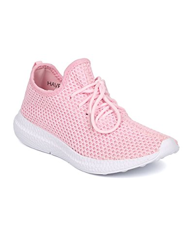 Women Fabric Knitted Jogger – Casual, Exercise, Active – Lightweight Lace Up Sneaker – GF09 By Cape Robbin – Pink (Size: 9.0)