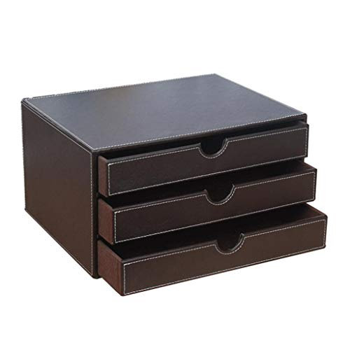 (ZHANGLIXIANG WJG Artificial Leather Desk File Cabinet, Three-Story Office Desktop Storage Box A4 Data Cabinet Drawer Rack (Color : Brown))